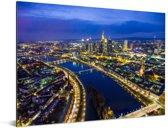 Verlichting in de straten van Frankfurt am Main in Duitsland Aluminium 160x120 cm - Foto print op Aluminium (metaal wanddecoratie) XXL / Groot formaat!