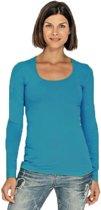 Bodyfit dames shirt lange mouwen/longsleeve turquoise - Dameskleding basic shirts L (40)