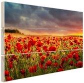 Klaprozen veld bij zonsondergang Hout 80x60 cm - Foto print op Hout (Wanddecoratie)
