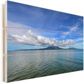 Uitzicht op Ometepe vanaf het water Vurenhout met planken 120x80 cm - Foto print op Hout (Wanddecoratie)