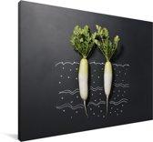 Twee rammenassen tegen een donkere achtergrond Canvas 140x90 cm - Foto print op Canvas schilderij (Wanddecoratie woonkamer / slaapkamer)