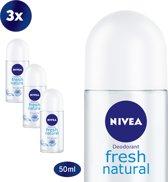 NIVEA Fresh Natural Deodorant Roller - 3 x 50 ml - Voordeelverpakking