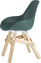 Kubikoff Icon stoel - Dimple closed blauw - Eikenhouten onderstel