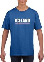 Blauw IJsland supporter t-shirt voor heren - IJslandse vlag shirts M (134-140)