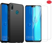 Huawei P Smart 2019 Hoesje Zwart TPU Siliconen Soft Case + 2X Tempered Glass Screenprotector