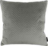 Silver Grey Velvet Chevron Kussenhoes | Fluweel / Velours | Grijs | 45 x 45 cm
