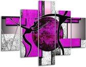 Glasschilderij Abstract | Paars, Zwart, Wit | 100x70cm 5Luik | Foto print op Glas |  F003479