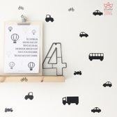 Voertuigen (tractor, bus, vrachtauto, fiets, taxi, motor en personenauto) muurstickers