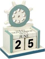 Stuurwiel eeuwigdurende kalender hout thema cadeaus nautical maritiem zon zee strand