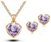 Fashionidea - Mooie elegante goudkleurige sieradenset de Heart Of Gold Set Purple