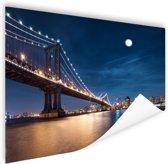 Maanlicht over de brug van Manhattan Poster 150x75 cm - Foto print op Poster (wanddecoratie woonkamer / slaapkamer) / Steden Poster