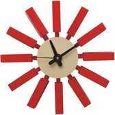 Design wandklok Block clock rood