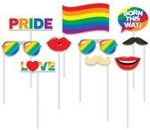 10x Foto props regenboog/Gay Pride thema - Selfie foto stokjes - LGBT Gay Pride artikelen