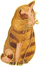 Behave® Broche poes kat bruin emaille