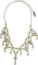 Behave® Ketting goud kleur met groene en bruine steentjes 40 cm