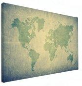 Wereldkaart modern groen op canvas Klein 40x30 cm | Wereldkaart Canvas Schilderij