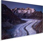 De Zwitserse Aletschgletsjer met schemering en sneeuw Plexiglas 90x60 cm - Foto print op Glas (Plexiglas wanddecoratie)
