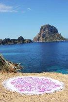 Mycha Ibiza – roundie – rond strandlaken – zeemeermin – roze – 100% katoen – franje