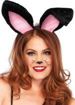 Leg Avenue A2811 Haarband met konijnenoren van pluche (Zwart)