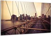 Schilderij   Canvas Schilderij Brug, Steden   Bruin, Crème   120x70cm 1Luik   Foto print op Canvas