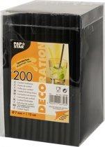 Zwarte cocktailrietjes 200 stuks