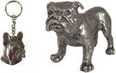 Sleutelhanger Tin Franse Bulldog + Tinnen Beeldje Engelse Bulldog