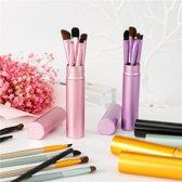 Make-Up Kwasten Set   5 Stuks   Make-up Kwast   Oogschaduw Kwast   Eyeliner   Wenkbrauw   Lip Kwast   Cosmetica   12 CM. Kwasten   Zwart + [ GRATIS REISKOKERTJE! ]