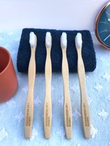 bamboe tandenborstel - wit - medium - 4 stuks - 100% Mao bamboe - biologisch afbreekbaar