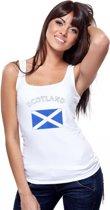Witte dames tanktop met vlag van Schotland S