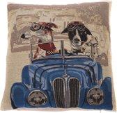 In The Mood Napoleon Hond in auto - Sierkussen - 45x45 cm - Blauw/Multi