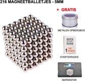 Neocube magneet balletjes puzzel | 216 neocube magneten | 5 mm | zilver magnetische balletjes | Inclusief gratis handleiding en separator