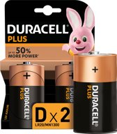 Duracell Plus Power D batterijen - 2 stuks