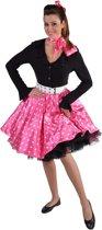 Rock'n roll rok roze met witte stippen - Jaren 50 polkadots - maat S/M (36-42)