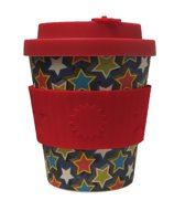 Ecoffee Cup BooCup Little Star - Bamboe Beker - 240 ml - met Rood Siliconen