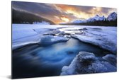 Zonsopkomst bij het het Jasper nationaal park in Canada Aluminium 120x80 cm - Foto print op Aluminium (metaal wanddecoratie)