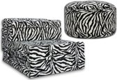 Vouwmatras + poef logeerbed zebra