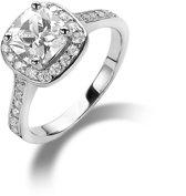 ring in zilver, solitaire met een vierkant zirkonia van 7 Wit