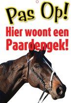 Waakbord Pas op! Paardengek - Polypropeen - Wit met opdruk - 21 x 14,8 cm