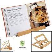 Luxe boekenstandaard van bamboe hout - Boekenhouder voor o.a. kookboek (als kookboekstandaard in keuken), tablet of boek - Kookboeken standaard - Boekensteun, verstelbaar & inklapbaar - Decopatent®