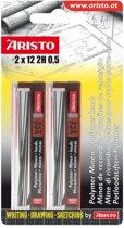 potloodstiftjes Aristo HI-Polymer 2H 0,5 mm blister 2x koker a 12 stuks