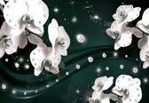 Fotobehang Flowers Orchids Pattern | DEUR - 211cm x 90cm | 130g/m2 Vlies