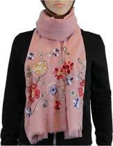 Sjaal 100% Katoen Roze Multi Color