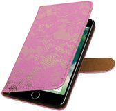 Roze Lace booktype wallet cover hoesje voor Apple iPhone 7 Plus / 8 Plus