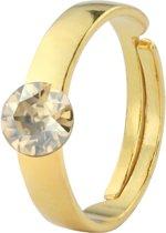 1418 Ring Swarovski Kristal - Dames - 925 Sterling Zilver Verguld - 6 mm