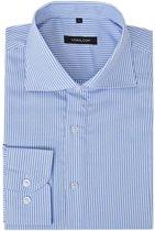 vidaXL Zakelijk overhemd heren wit en blauw gestreept maat S