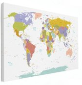 Wereldkaart Alle landen pastel - Afgedrukt op Canvas 200x100 cm