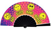 Festival waaier - handwaaier - spaanse waaier - Eat sleep rave repeat