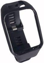 Siliconen Horloge Band Voor Tomtom Adventurer / Golfer 2 / Spark / Runner 2/3 -  Armband / Polsband / Strap Bandje / Sportband - Zwart