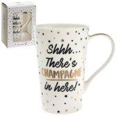Beker / koffietas met tekst champagne .