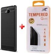 Silicone gel zwart hoesje Sony Xperia 10 met glas screenprotector